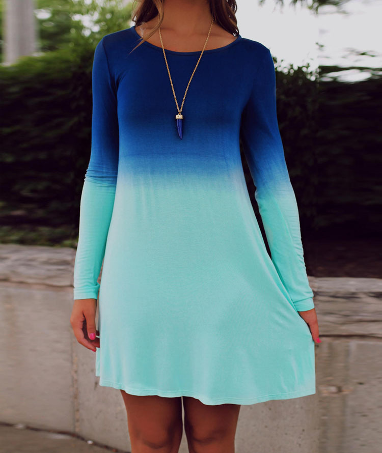 b3a3c95f7de9 new spring dress women dresses long sleeve plus size dress fading color blue  dresses woman Sakura clothing-in Dresses from Women s Clothing on ...