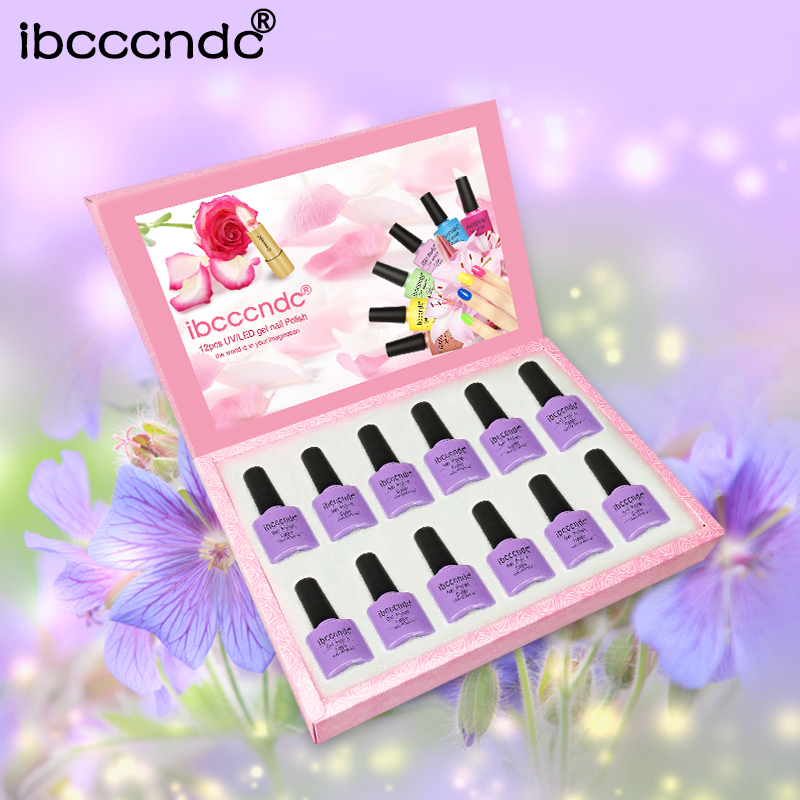 IBCCCNDC 12pcs/Set Purple Pink Series UV Gel Polish 10ml Nail Gel Lacquer Long Lasting Soak Off Nail Gel with Exquisite Gift Box elite99 29pcs set not moving cat eye gel 3d long stay cat eye effect nail gel polsih 10ml soak off uv gel lacquer semi permanent