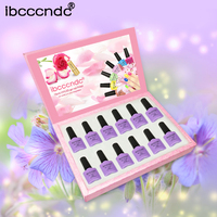 IBCCCNDC 12pcs/Set Purple Pink Series UV Gel Polish 10ml Nail Gel Lacquer Long Lasting Soak Off Nail Gel with Exquisite Gift Box