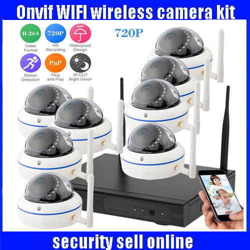 720P HD H.264 Waterproof Vandal-proof Dome IR IP Camera WIFI Security CCTV System 8CH Wireless NVR Surveillance Kit 720p full hd h 264 waterproof outdoor ir night vision ip camera wifi security cctv system 8ch wireless nvr surveillance kit