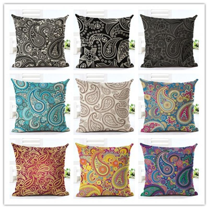 High Quality Car Printed Cotton Linen Blackout Curtain: 45x45 High Quality Creative Geometry Print Fundas Cotton