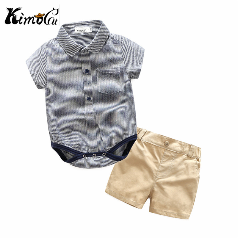Kimocat new baby boy clothes Summer short-sleeved college wind gentleman lapel shirt jumpsuit+Casual shorts sets