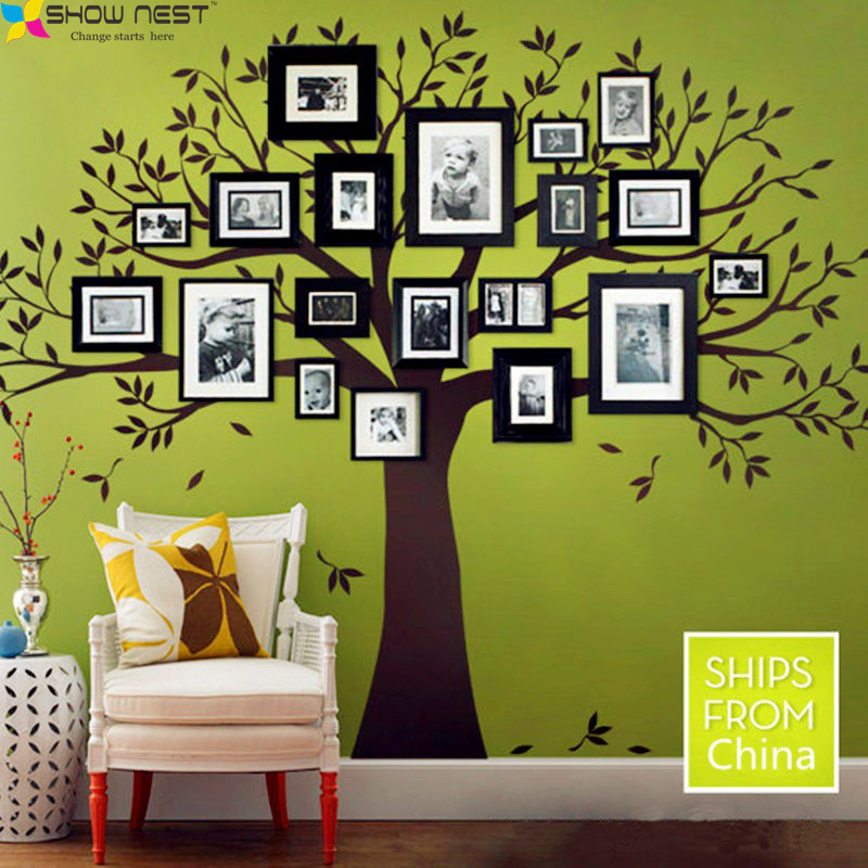 Family Tree Bird Wall Decals Photo Frames Wall Stickers Home Decor Stikers For wall Decoration Many Rooms Decorated Applicable