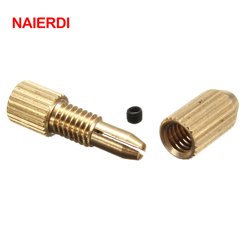 NAIERDI 2.3mm Brass Electric Motor Shaft Clamp Fixture Chuck Mini Small For 0.7-3.2mm Drill Micro Drill Bit Clamp Fixture Chuck