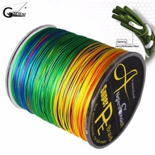 купить 8 Strands Braided Fishing line 500m Multi Color Super Strong Japan Multifilament PE braid line 10LB 20LB 30LB 40LB 100LB 200LB дешево