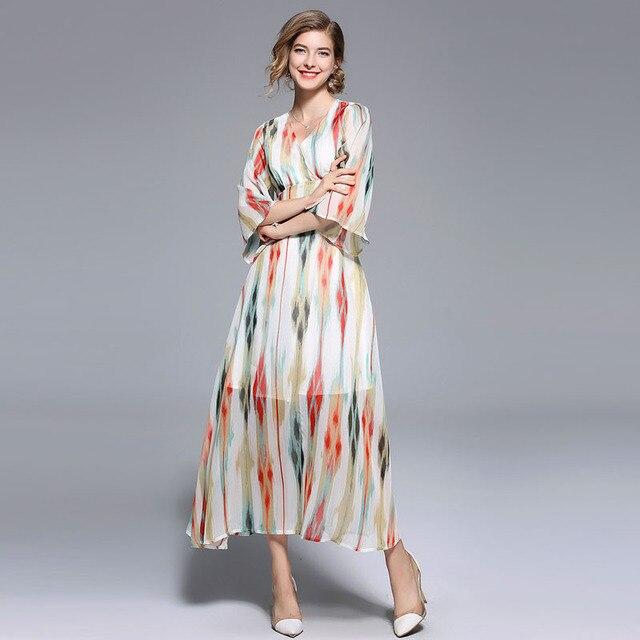 LARCI Summer Women Fashion Chiffon Long Dress Tassel V Neck Beach Dress Three Quarter Sleeve Bohemian Loose Dresses N3879