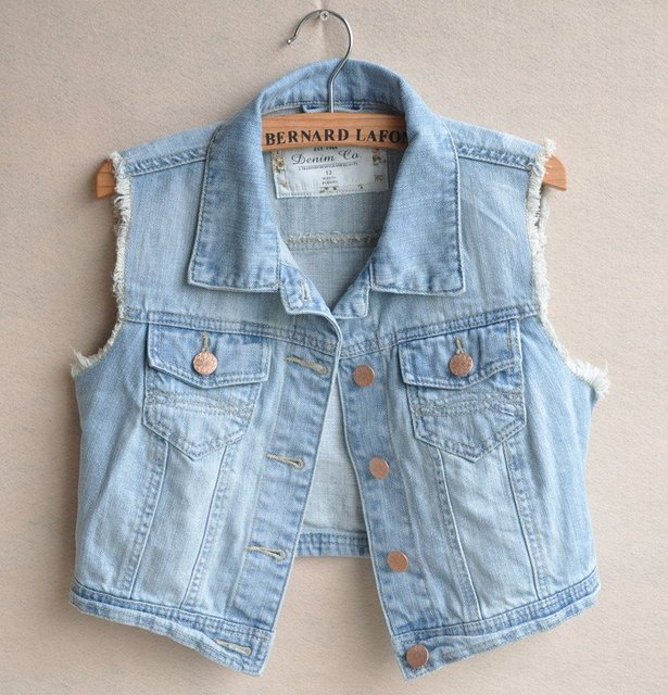 Free ship 2014 Hot CUTE Casual Raw Edges Design Blue Denim Vest Jean Jacket, Turn-down Collar Metal Button Women Jeans Outwear