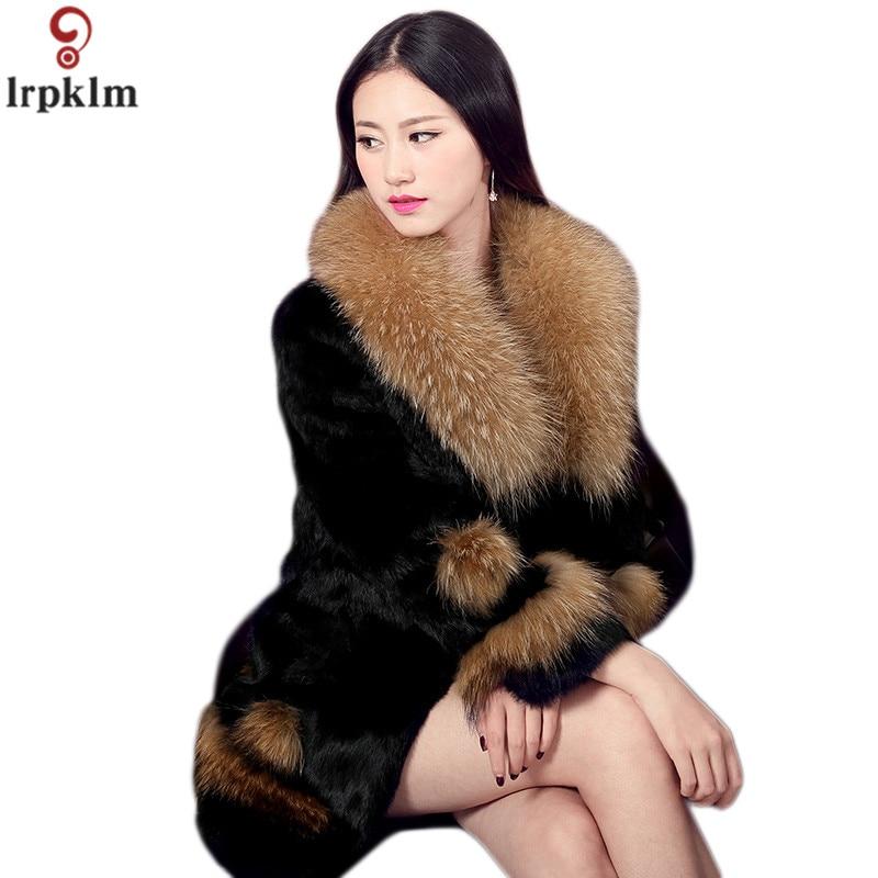 Femmes Raton Laveur Cheveux Manteau De Fourrure Long Hiver De Fourrure De Lapin Veste Plus La Taille 6xl Épais Élégant Dames De Fourrure Vestes D'hiver Veste manteaux
