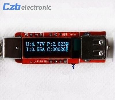 Mini OLED USB Chargeur Capacité puissance Tension Courant Testeur De Détecteur de Compteur Blanc