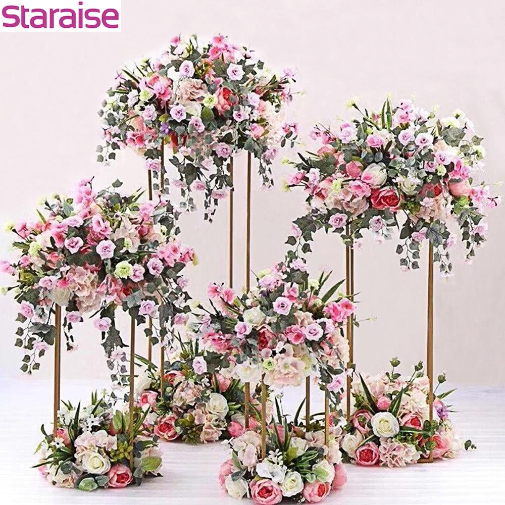 Staraise 10 Pcs/Lot intérieur jardin métal Plat Stand mariage décor fleur Vase colonne Stand mariage pièce maîtresse événement fête décor