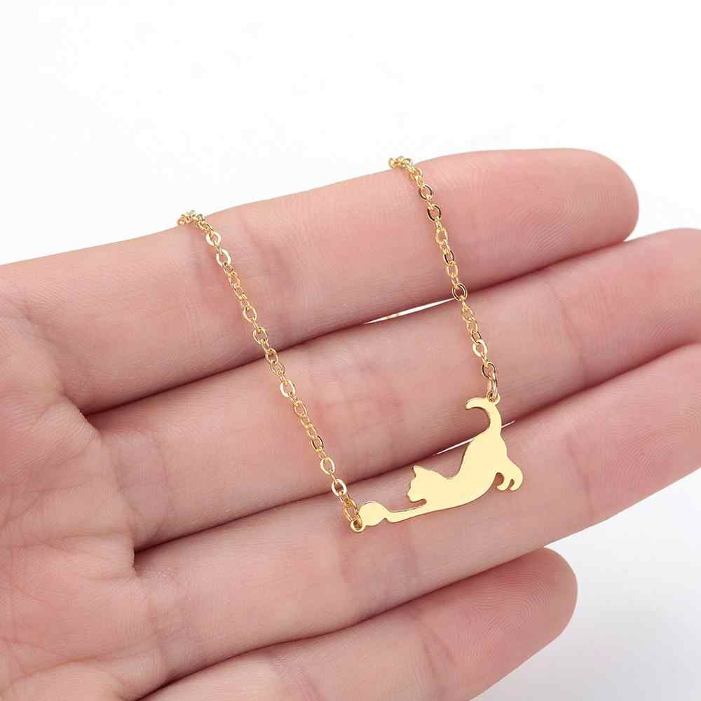 Chandler 316L Steel Cat Necklace Cat Playing Ball Cute Kitten Necklaces Kids Collares Female Simple Jewelry Pet Lovers Gifts