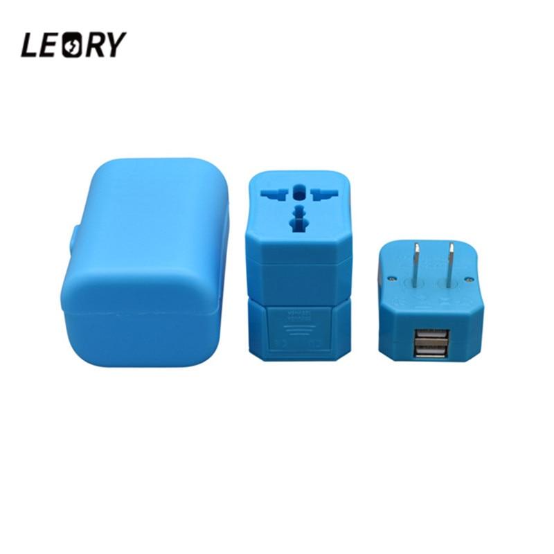 LEORY Universal Travel Adapter EU US UK AU International Plug Adapter Dual USB Charging 6V 1A 2500W Power Plug Adapter Converter