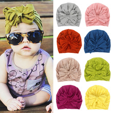 16 Colors Baby Hat Cotton Bow Turban Photography Props Kids Beanie Infant Accessories Cap for Girls Boy Child Hats