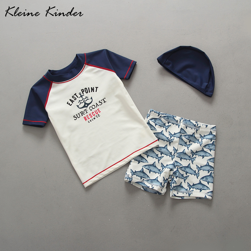 0612001ad1 Super Quality Toddler Swimwear Anchor Print Two Pieces Short Sleeve  Rashguard + Swimming Trunks Set with Hat Baby Boy Swimsuit