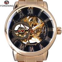 Forsining Fashion Wearing Retro Design Mechanical Skeleton Watch Steampunk Design Transparent Mens Watch Top Brand Luxury