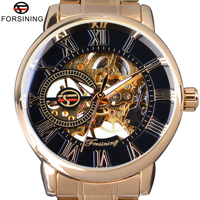 Forsining Fashion Wearing Retro Design Mechanical Skeleton Watch Steampunk Design Transparent Mens Watch Top Brand Luxury Clock