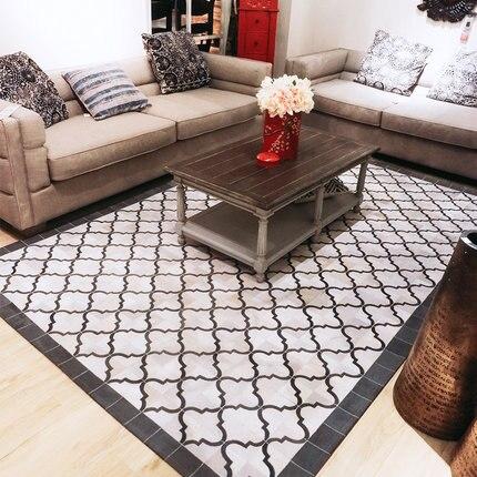 Plaid européen design peau de vache tapis salon table de thé chambre chevet en cuir tapis couture peau d'animal Patchwork zone tapis
