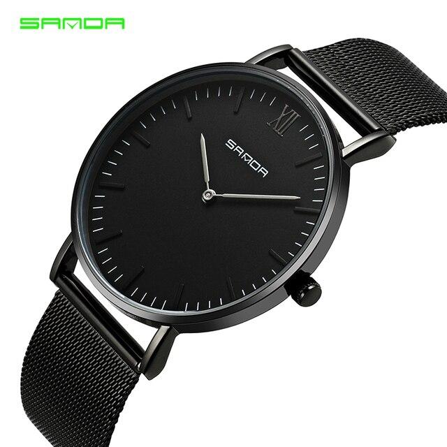 0c99d621a3c Fino SANDA top marca de luxo relógio dos homens ultra-fina malha de aço  inoxidável