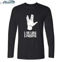 Alimoo New Star Trek Men T Shirt Hip Hop Harajuku Spock Live Long And Prosper Long