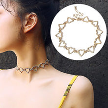 Silver Gold Love Heart Necklaces Pendants Double Chain Choker Long Necklace Collar Women Statement Jewelry Bijoux(China)
