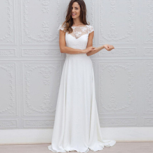 Bbonlinedress A-Line Illusion Scoop Neck A Line Lace Wedding Dresses Sweep Train Open Back Chiffon Bridal Gowns 2019