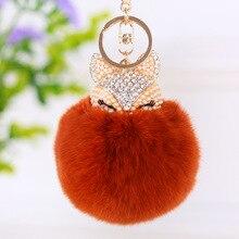 Womens Keychain Fake fox Pendant Cute Crystal Hair Ball Pompon Trinkets Hanging Bag Car Key Chain 2019 new