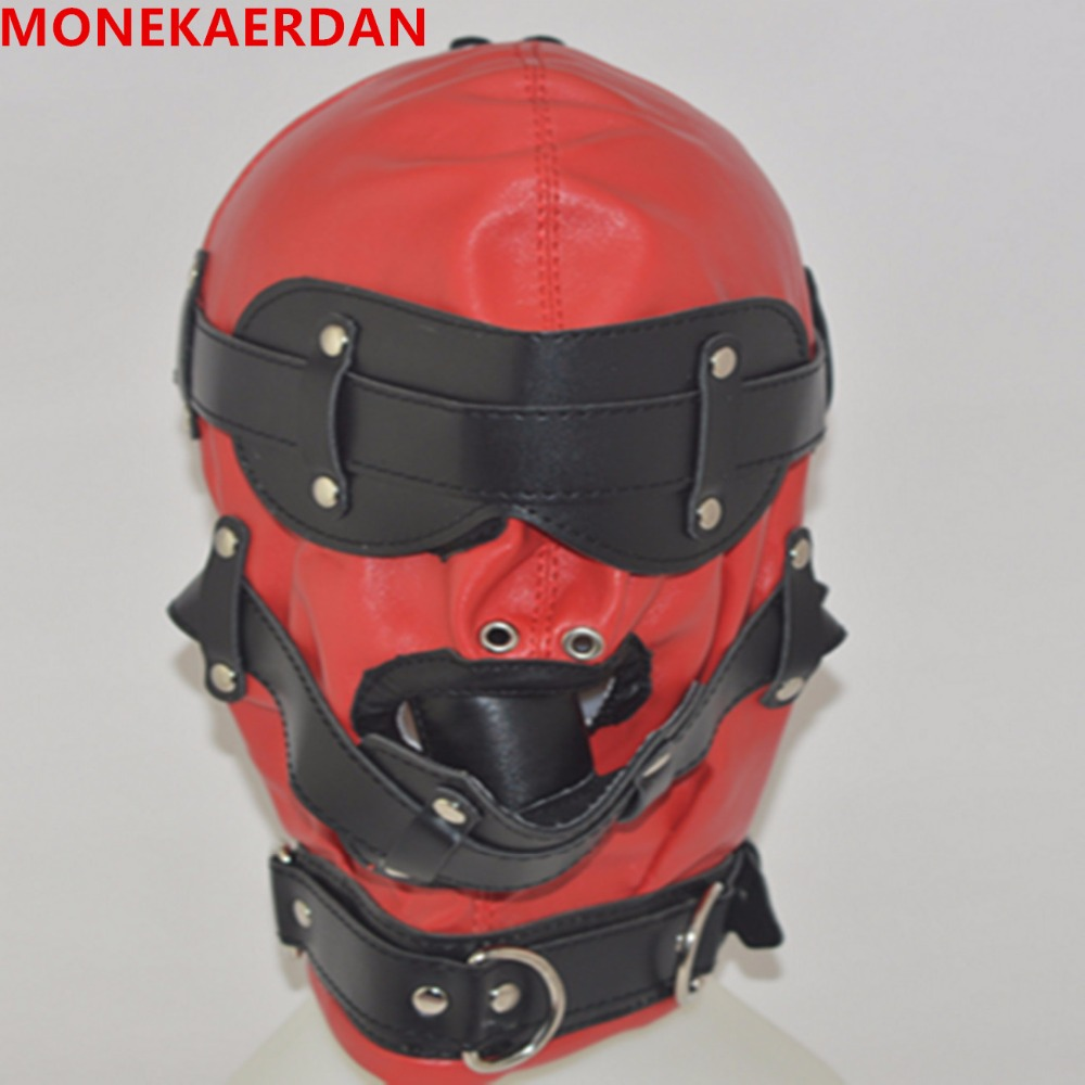 Adjustable PVC Leather Hood Mask Head Bondage Belt Slave In Adult Games,BDSM Fetish Sex Products Toys For Men And Women - XZW03 adult games cosplay horse headgear leather bondage bdsm fetish slave blindfold mask cap head restraints hood sex toys products