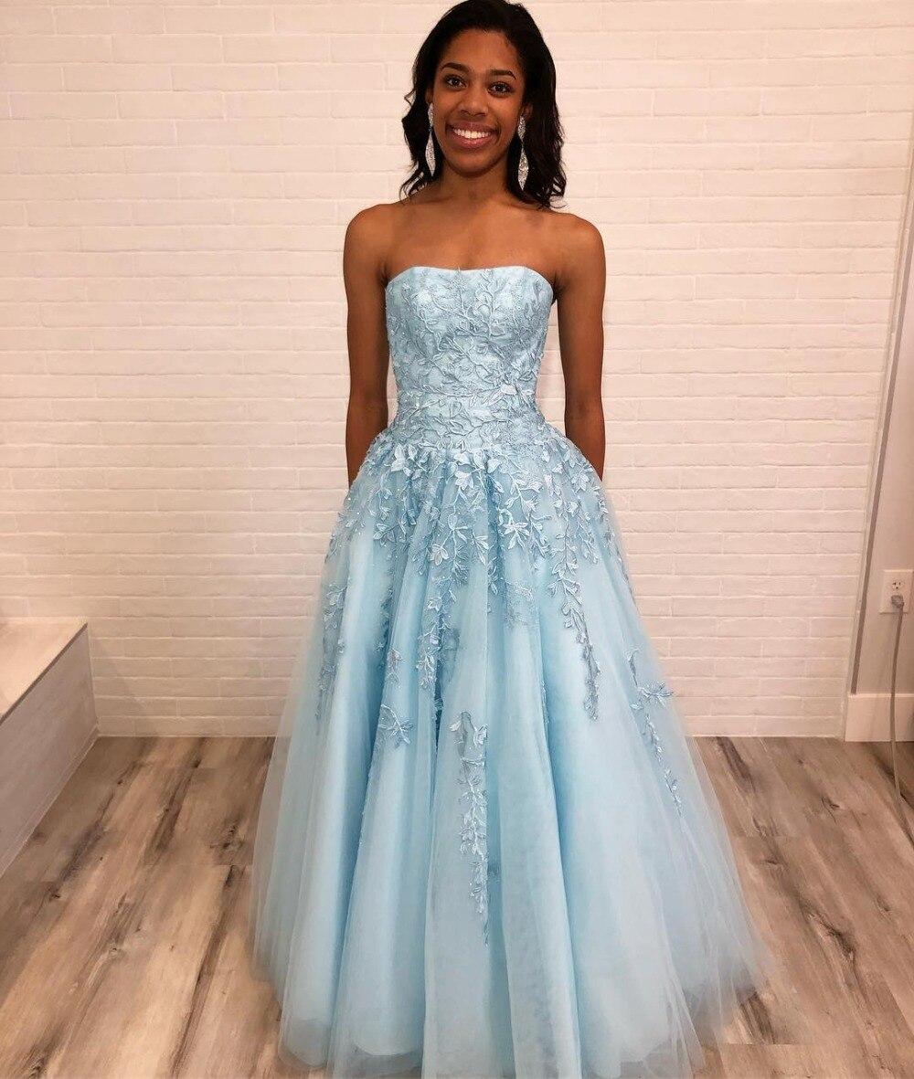 2019 élégante robe de bal en Tulle sans bretelles bleu longue robe formelle avec dentelle Appliques robes de soirée pour les femmes
