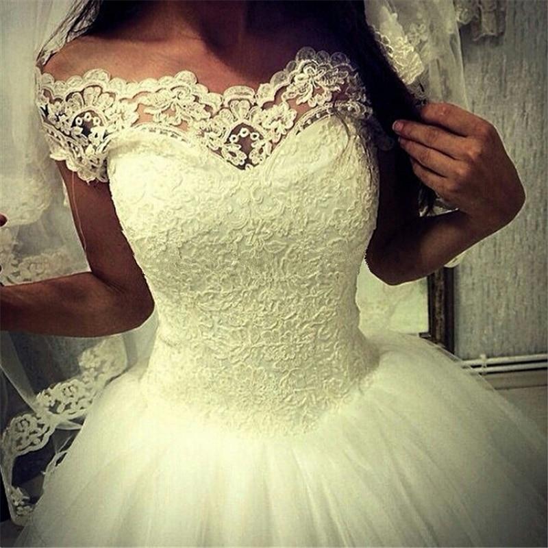 2017 Новый Белый Элегантный Принцесса Свадебное Платье Реальные Фотографии Индивидуальные Плюс Размер С плеча Шнурка Бальное платье Свадебное Платье