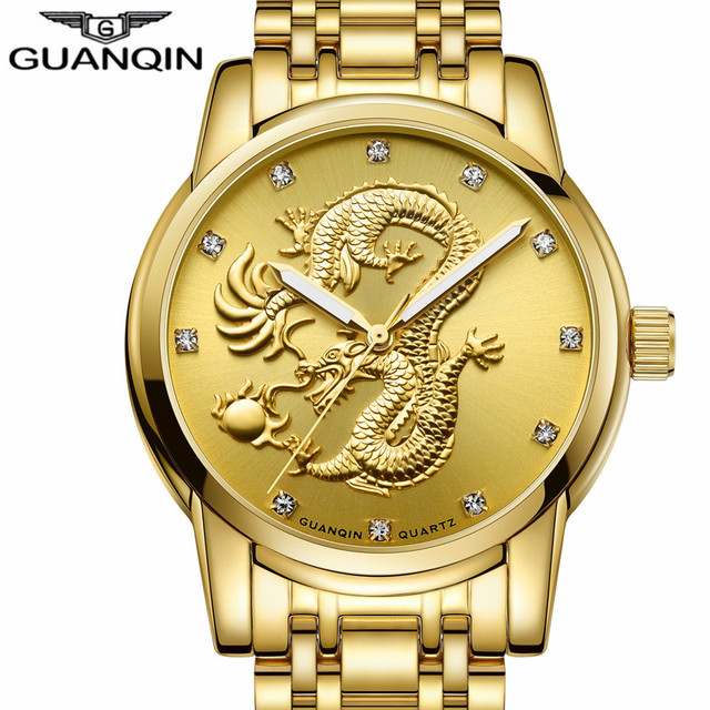 New GUANQIN Men Watches Gold Dragon Sculpture Wristwatch Quartz Mens Designer Watches Luxury Watch Waterproof Clock Steel