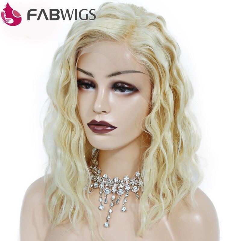 Fabwigs 180% Densité D'une-off Perm Bouclés Bob Perruque #613 Blonde Dentelle avant de Cheveux Humains Perruques Pré Pincées Courtes Perruques de Cheveux Humains Remy