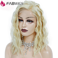 Fabwigs 180% Density One off Perm Curly Bob Wig #613 Blonde Lace Front Human Hair Wigs Pre Plucked Short Human Hair Wigs Remy