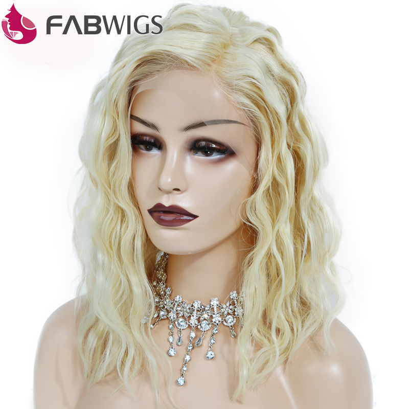 Fabwigs 180% Density One-off Perm Curly Bob Wig #613 Blonde Lace Front Human Hair Wigs Pre Plucked Short Human Hair Wigs Remy image