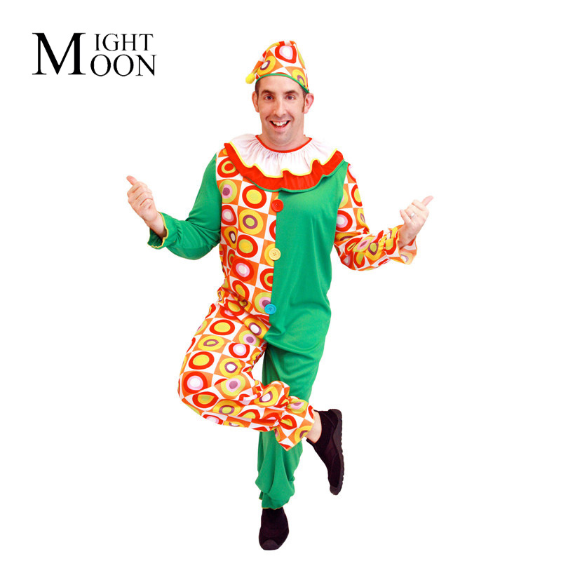 MOONIGHT Holiday Variety Funny Clown Cosplay Costume Man Clown Clothes Party Joker Clown Costume