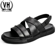 купить Mens Genuine Leather Roman sandals thick bottom beach shoes breathable outside anti-skid sandals Summer mens gladiator sandals дешево