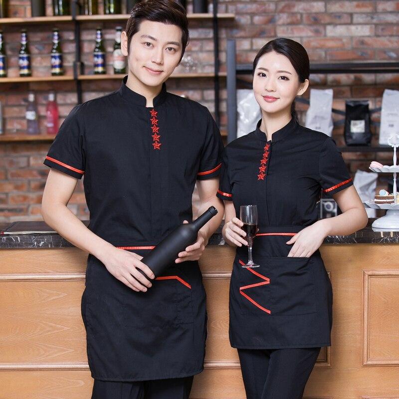 Hotel Uniform Spring Summer Female Hot Pot Shop Attendant Short Sleeved Frock Restaurant Uniforms J090