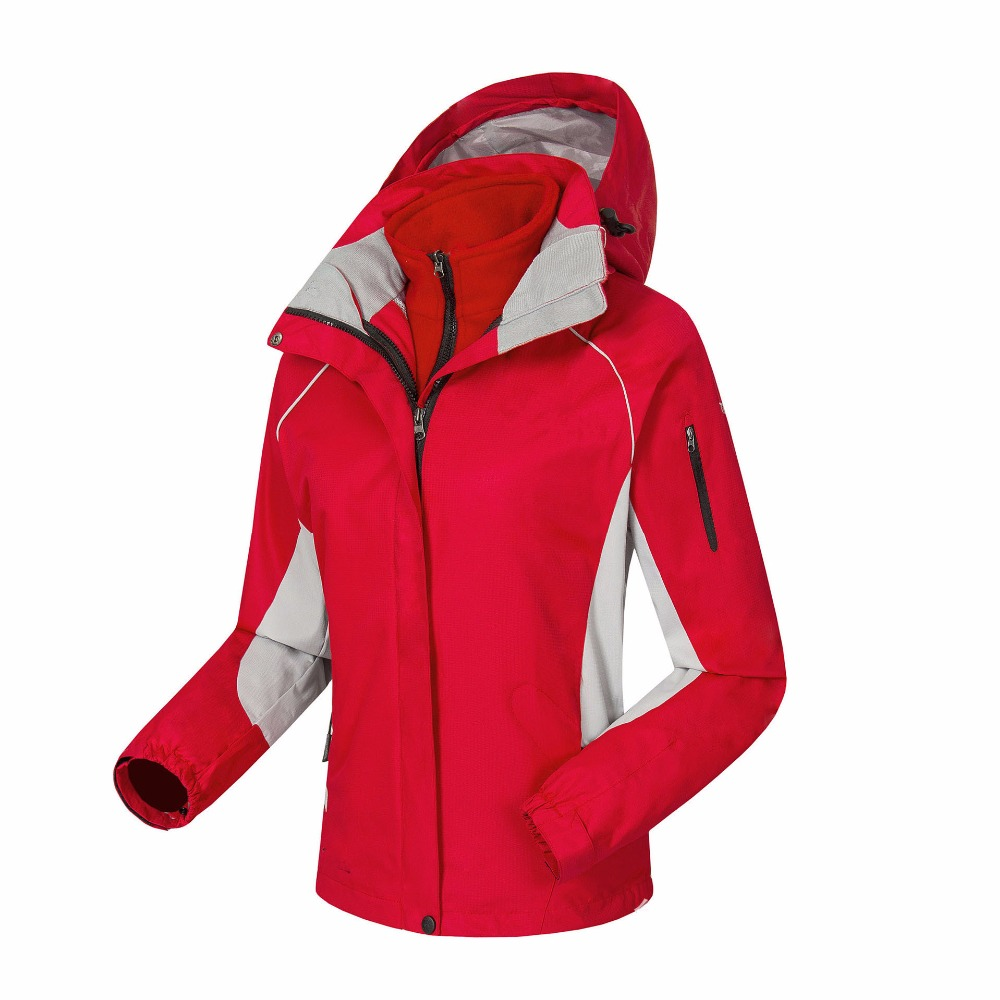 Women Outdoor Soft shell 3 in 1 Jacket Winter Waterproof Windproof Fleece Thermal Female Jacket Camping Hiking Skiing Jacket