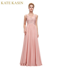 Elegant Pink Evening Dress Prom Dresses 2017 Coral Purple Green Blue Vestido de Festa Long Evening Gown Special Occasion Dresses(China)