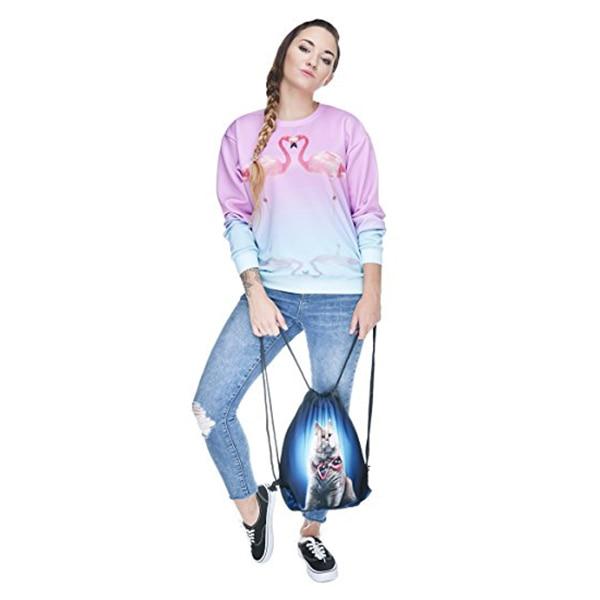 ABDB Full print Mens Womens Kids bag Teenage Drawstring Bag Shoulder School Backpack Rucksack Travel Gym(Cat)