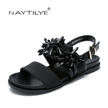 Shoes woman New sandals PU ECO leather Basic Flats Black color 36-41 Free shipping NAYTILYE