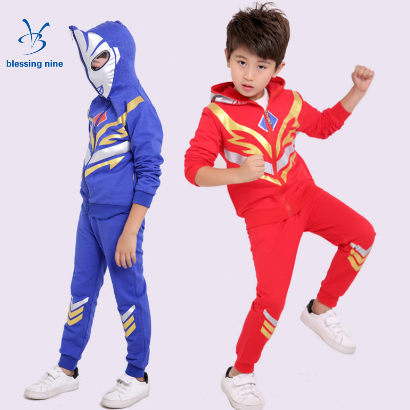 2017 New Children Kids Boys Clothing Sets Autumn Spring Hooded Tracksuit Boy Clothes Set Cartoon Long Sleeves Hoodies+Pants 2pcs kids hip hop clothing autumn new boys kids suit children tracksuit boys long shirt pants sweatshirt casual clothes 2 color