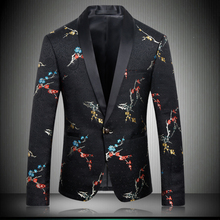 2019 Chinese Style Custom Made Mens Blazer Fashion Printed Luxury Plum Blossom Men Suit Jacket Single Button 8629