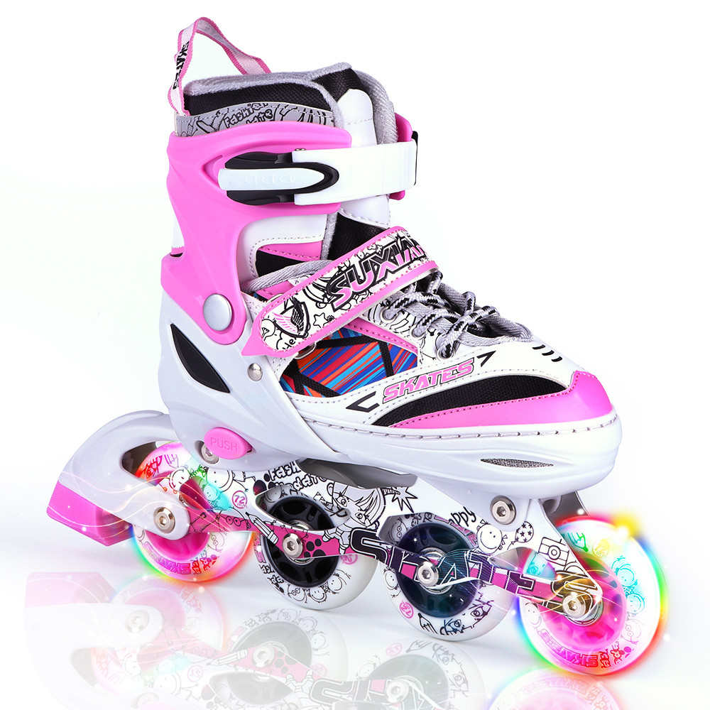 все цены на 4 Wheel Adjustable Quad Roller Skating Kids Professional Ilnline Glow Speed Powerslide Skates Row Roller Sneakers Girl For Adult