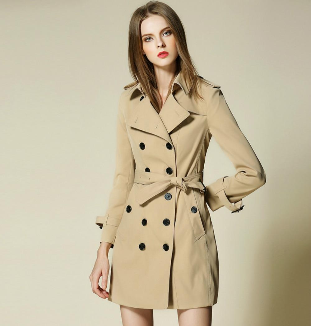 New Retro British Style Womens Trench Coat B Brand 2018 Spring Classical Designer Trench Long Belt Female Overcoat Windbreaker