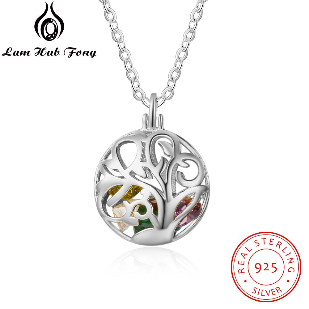 925 Sterling Silver Personalized Birthstone Necklace Round Floral Cage Pendants Customized Gift Mother Jewelry (Lam Hub Fong)