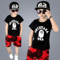 red camouflage children summer boys clothes sets 2017 big baby boy set letters printed black t shirts tops red shorts boys sets