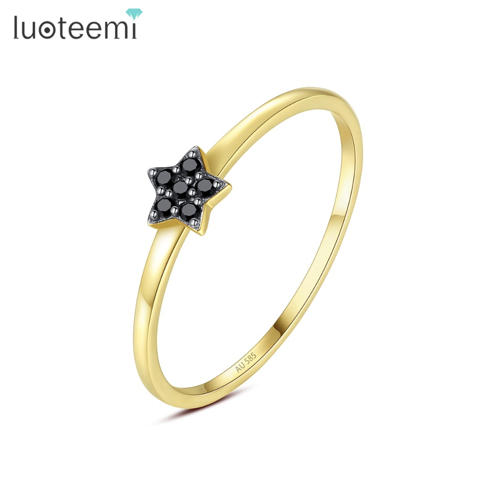 LUOTEEMI Brand Design Black Cubic Zircon Star Wedding Finger Ring for Women Thin Circle Engagement Gold Rings Jewelry Bijoux