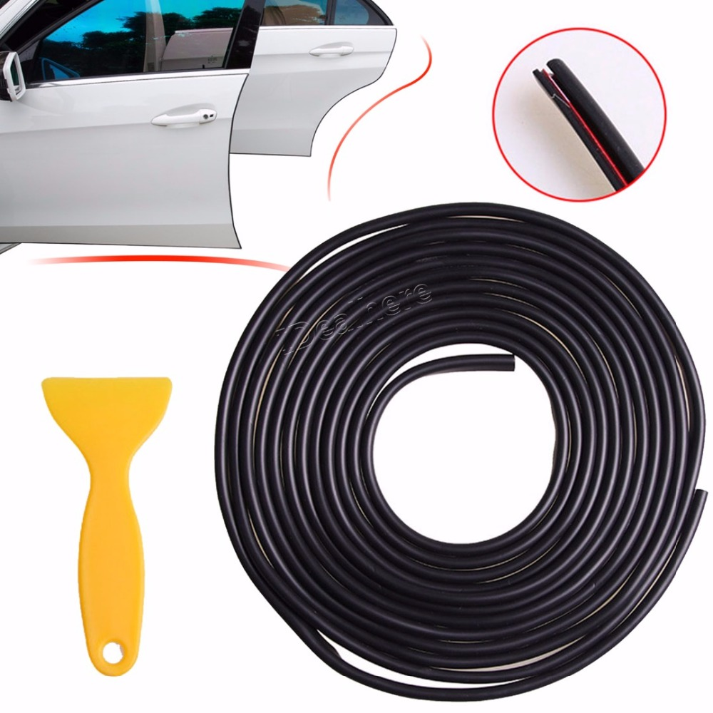 5M Black/White Car Styling Door Side Edge Lip Strip Guard Protector Moulding Trim Anti Dent Rubber Car Styling Edge Guard creative 100 dollar bill style door stopper guard white green black