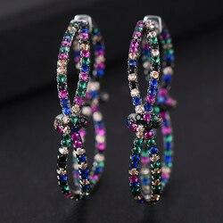 GODKI 38 мм роскошные разноцветные кубические серьги-кольца с цирконом для женщин Свадебные Дубаи трендовые серьги Букле д 'ореиль femme
