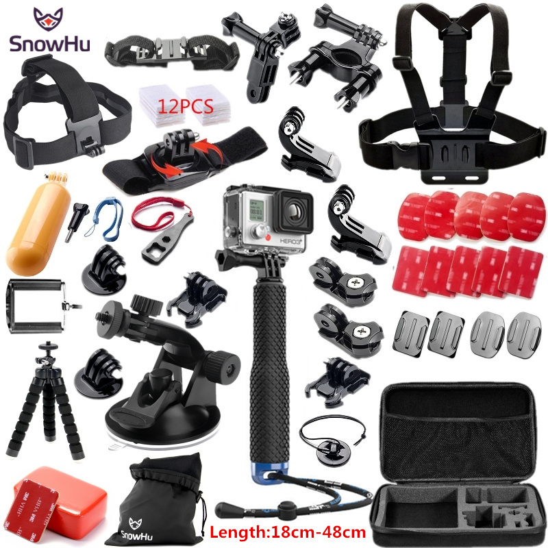 SnowHu for Gopro Hero 5 Accessories set Octopus Tripod+Suction cup for go pro hero 6 5 4 3+ For xiaomi yi eken h9r sj4000 GS58 miniisw m ac universal curved surface mount kit for gopro hero 4 3 3 hero2 hero sj4000 black